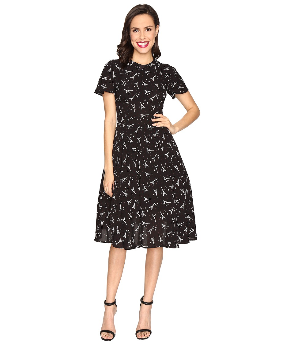 Unique Vintage - Eiffel Tower Swing Dress (Black/White/Red Dot) Women's Dress