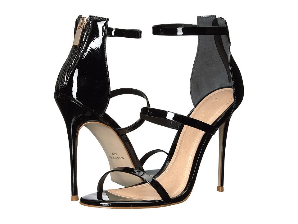Massimo Matteo - 3 Band Stiletto (Black Patent) Women's Shoes