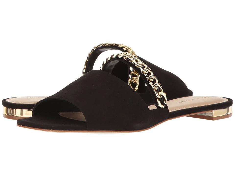 Massimo Matteo - 2 Band Slide (Black Nubuck) Women's Slide Shoes