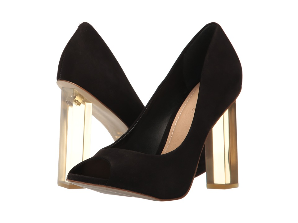 Massimo Matteo - Open Toe Pump 17 (Black Nubuck) Women's Toe Open Shoes