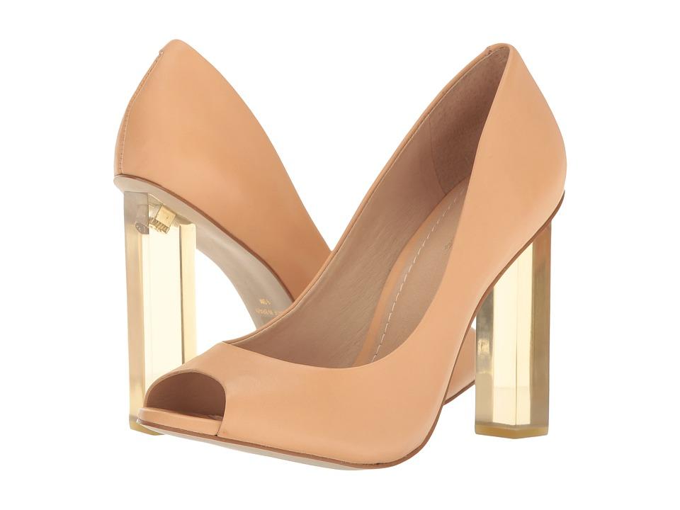 Massimo Matteo - Open Toe Pump 17 (Nude Leather) Women's Toe Open Shoes