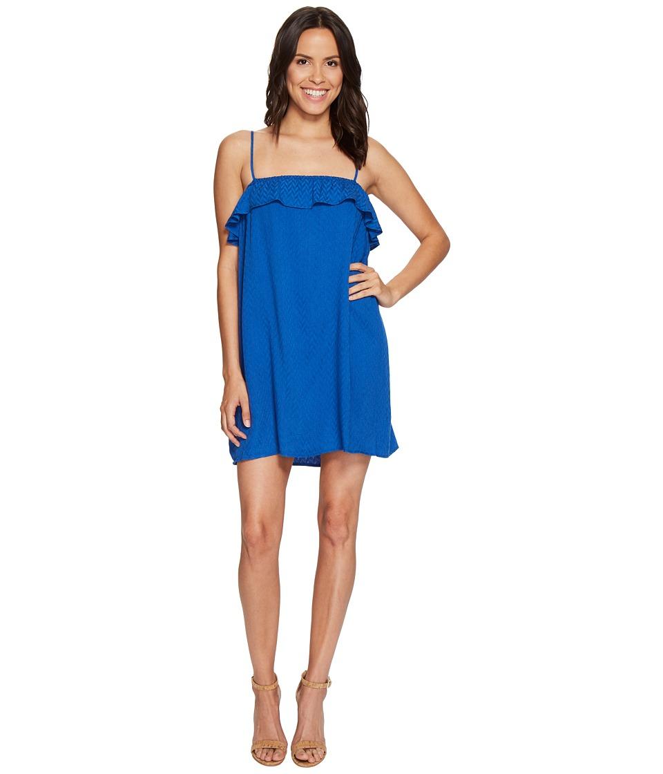 Jack by BB Dakota Birkin Chevron Dobby Dress (Cobalt Blue) Women