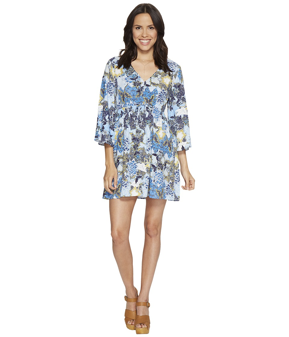 Jack by BB Dakota Faira Wandering Floral Printed Rayon Challis Empire Dress (Cornflower Blue) Women