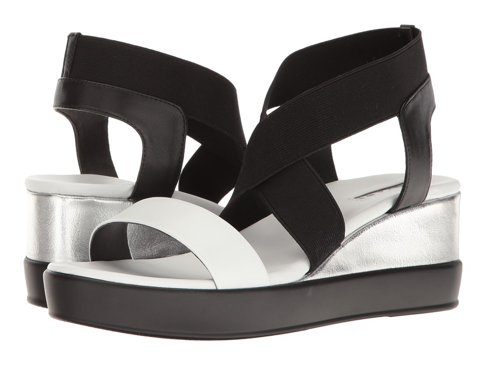 Tahari - Prince (Black/White/Silver Nappa/Metal) Women's Sandals