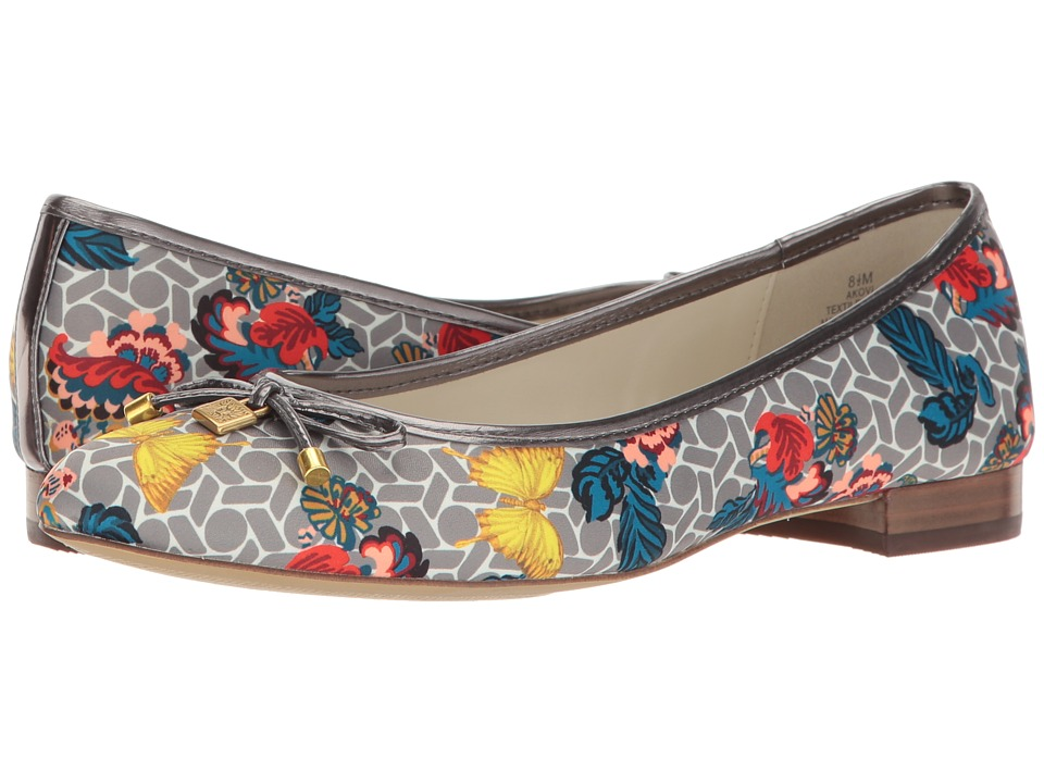 Anne Klein - Ovi (Grey Multi/Pewter Fabric Butterfly Print) Women's Flat Shoes