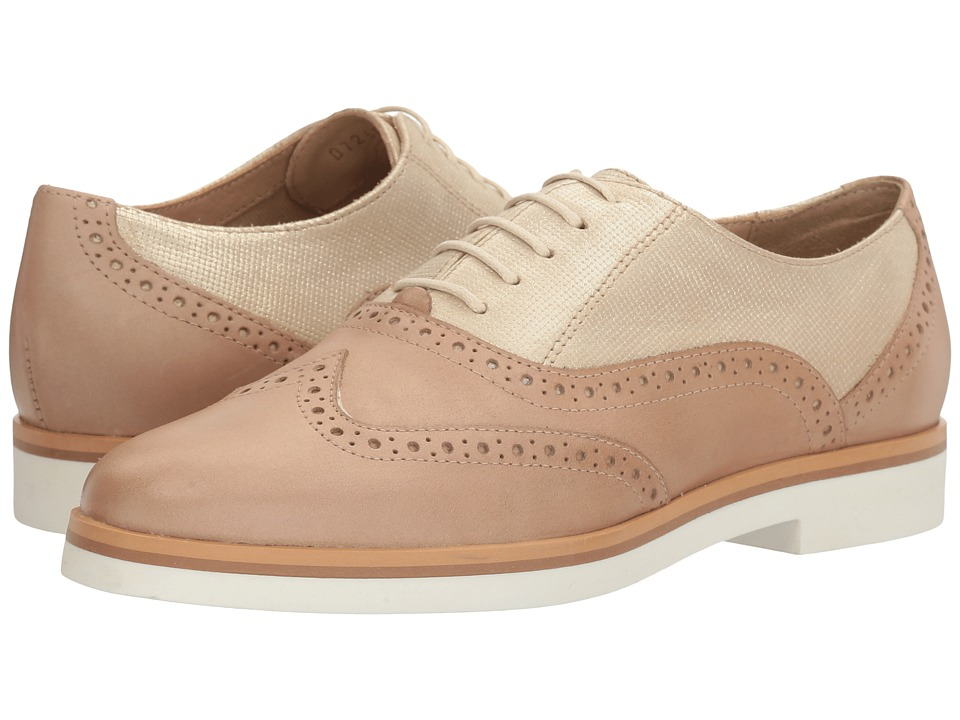 Geox - W JANALEE 6 (Light Gold/Light Taupe) Women's Lace Up Wing Tip Shoes