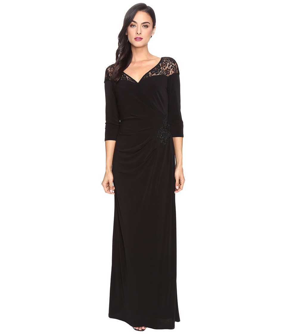 Sangria 3/4 Sleeve Gown (Black) Women