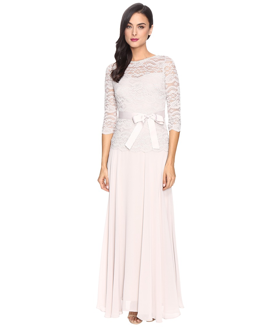Sangria - Beaded Lace Gown (Stone) Women's Dress