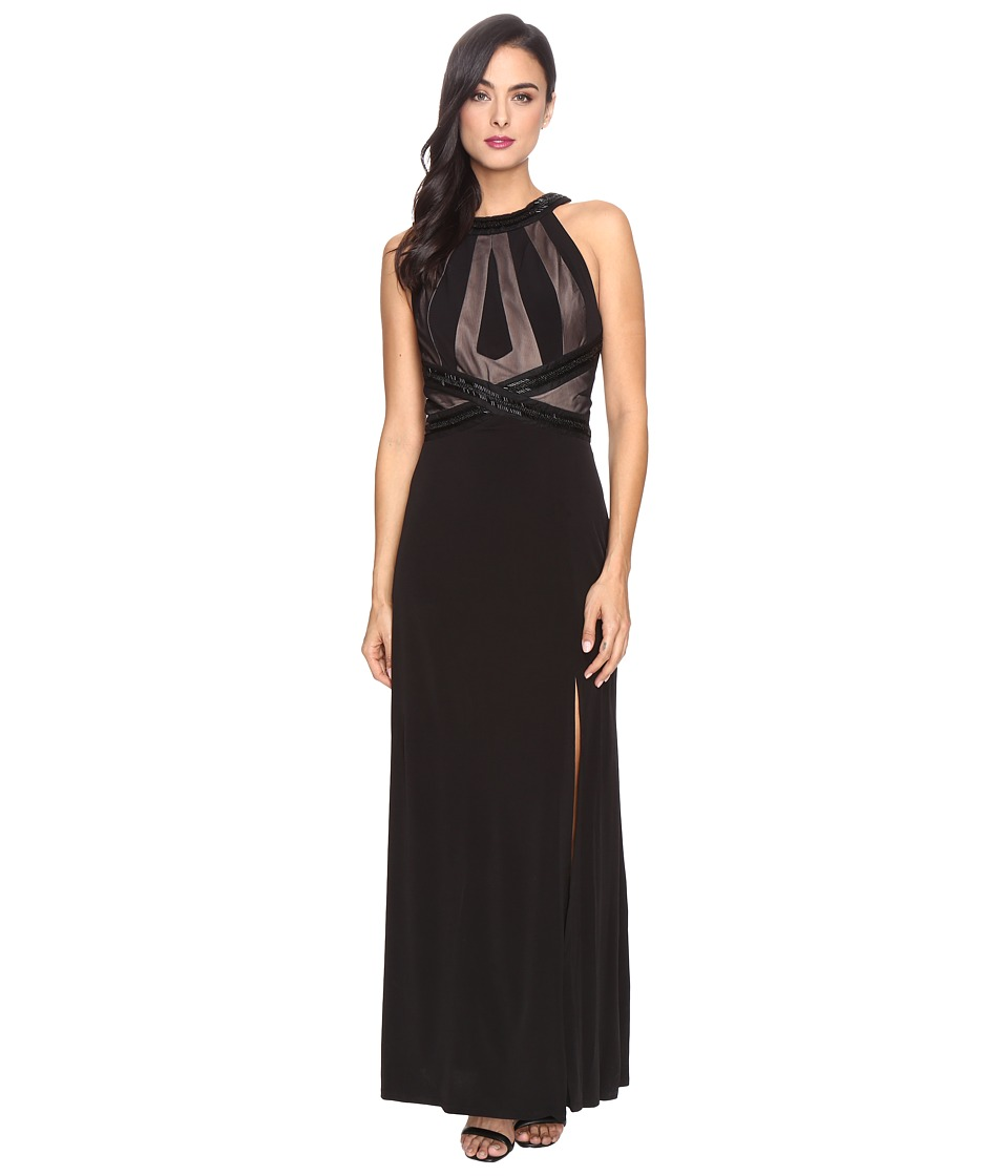 Sangria - Illusion Gown (Black/Putty) Women's Dress