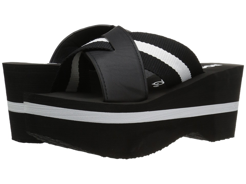 Rocket Dog - Radley (Black Webbing Smooth) Women's Wedge Shoes