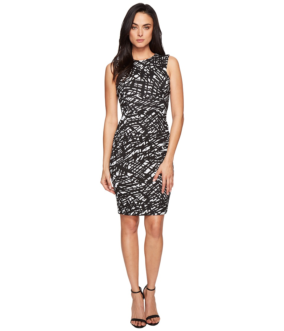 Calvin Klein - Sleeveless Textured Sheath CD7E236U (Black/White) Women's Dress