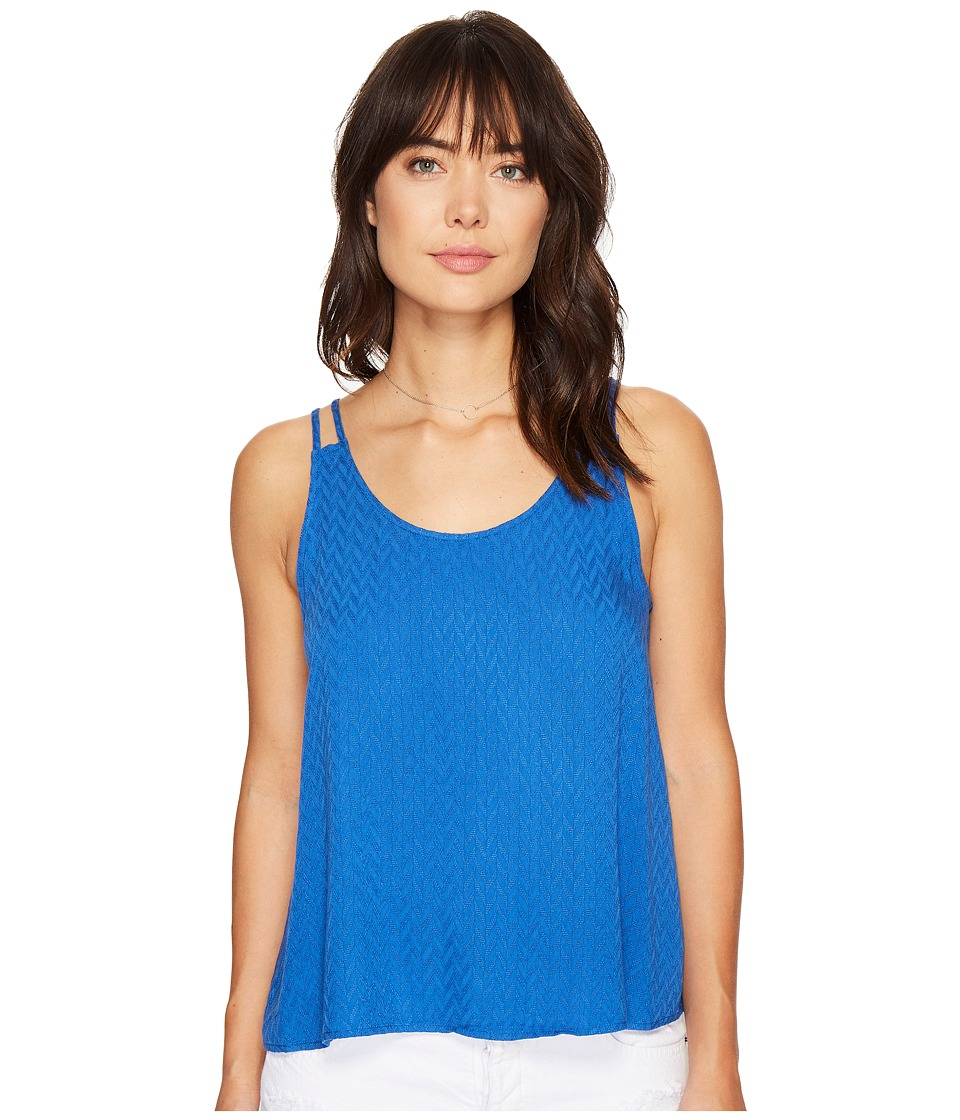 Jack by BB Dakota - Bette Chevron Dobby Flyaway Top (Cobalt Blue) Women's Clothing