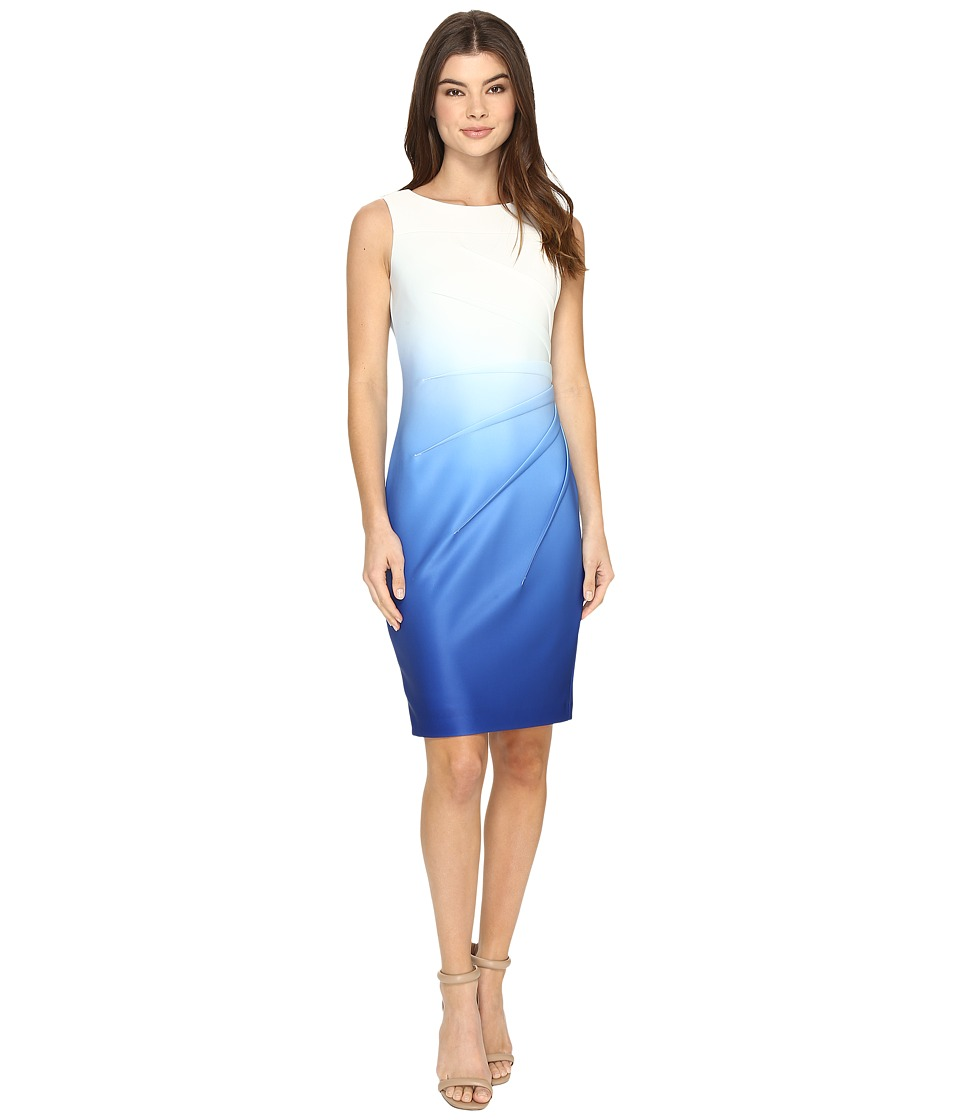Calvin Klein Sleeveless Starburst Ombre Sheath CD7MHB4P Regatta Dress