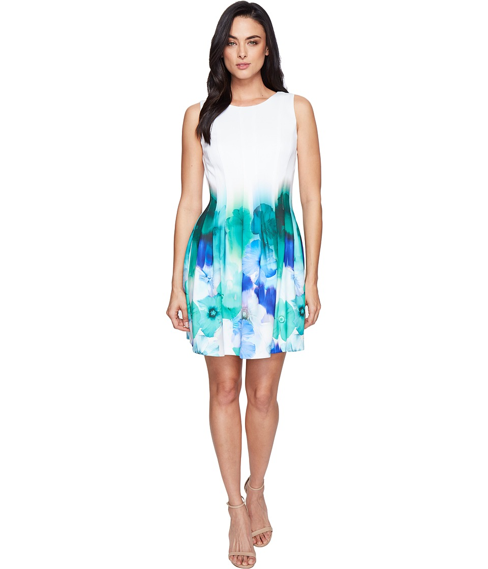 Calvin Klein - Sleeveless Fit Flare Border Print Dress CD7MHA6U (Green Multi) Women's Dress