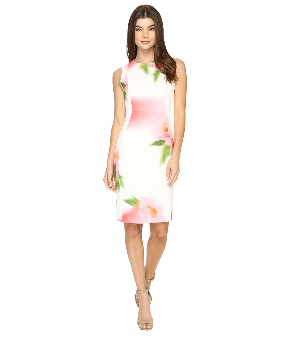 Calvin Klein Blurred Floral Print Dress CD7MD923 (Pink Multi) Women