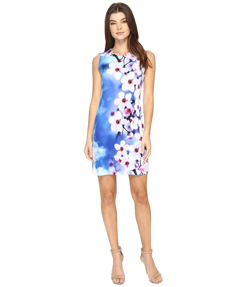 Calvin Klein - Jersey Shift Dress in Floral Print CD7A4R8D (Blue Multi) Women's Dress