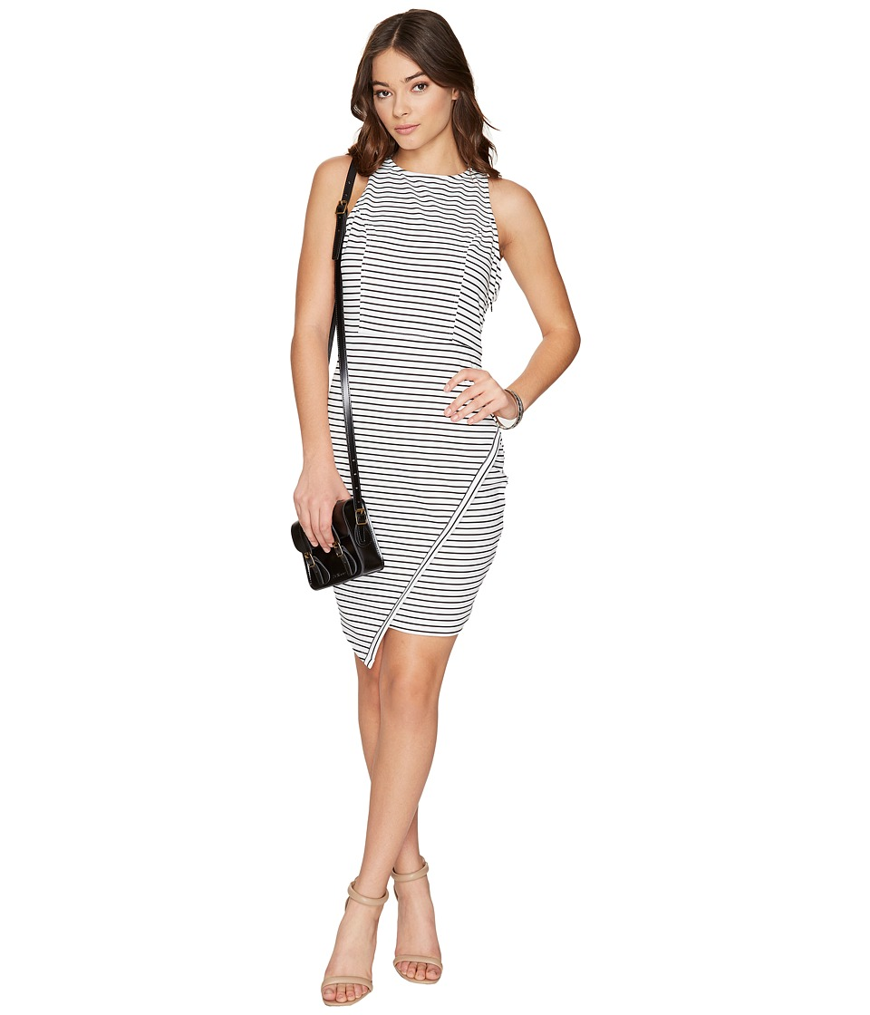 Jack by BB Dakota - Ariceli Striped Ponte Bodycon Dress with Asymmetrical Hem (Bright White) Women's Dress