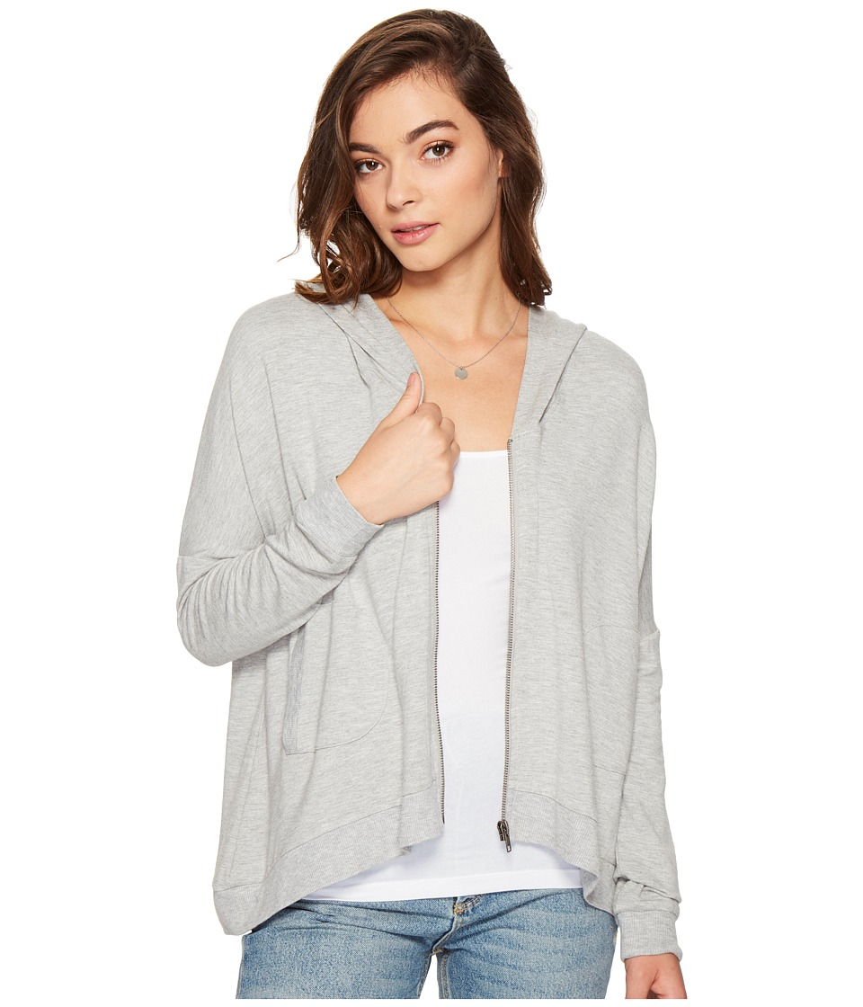 Jack by BB Dakota - Gasol Lightweight French Terry Slit Back Hoodie (Light Grey) Women's Clothing