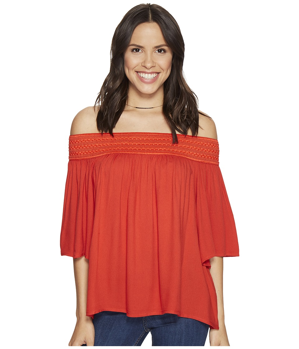 Jack by BB Dakota - Lin Rayon Crepe Off Shoulder Top with Novelty Elastic Trim (Fire Red) Women's Clothing