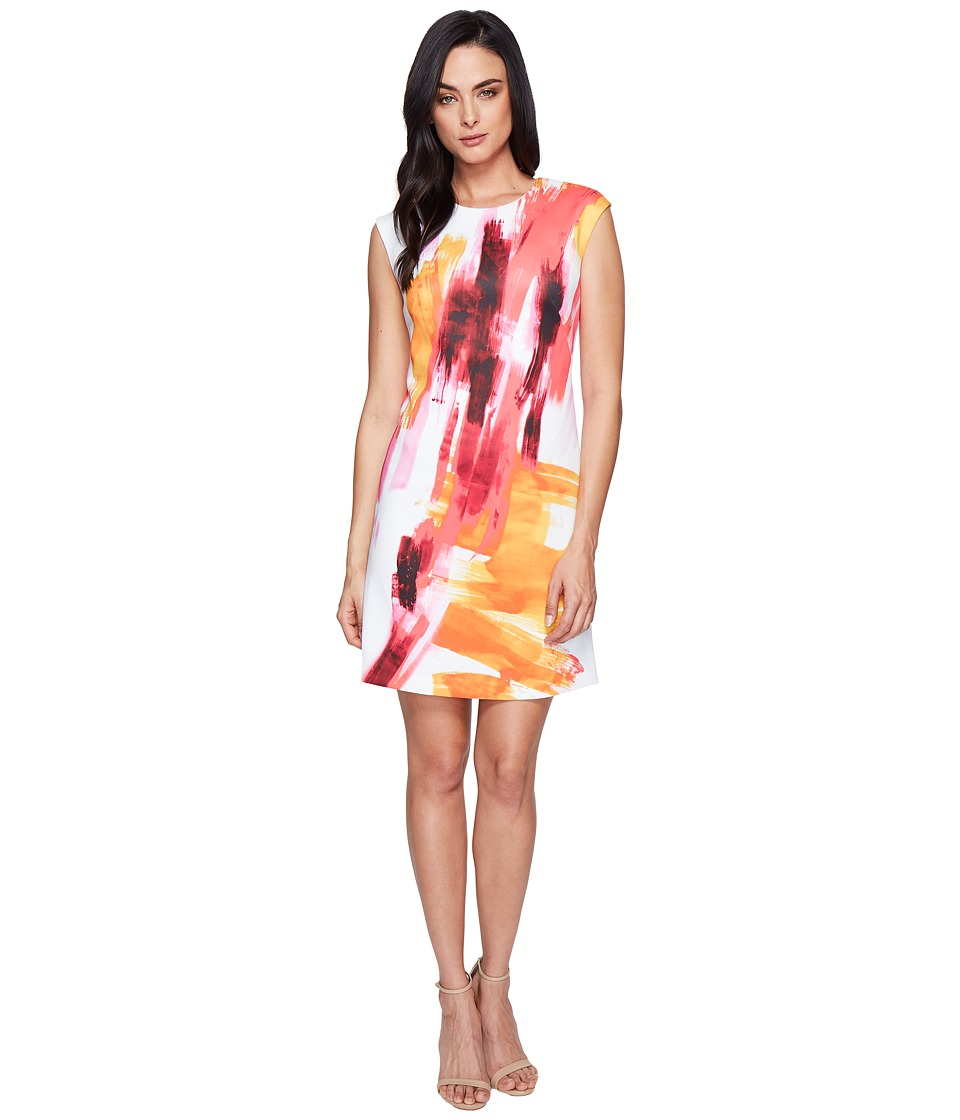Calvin Klein - Cap Sleeve A-Line Dress in Brush Stroke Print CD6M7L8U (Pink Multi) Women's Dress