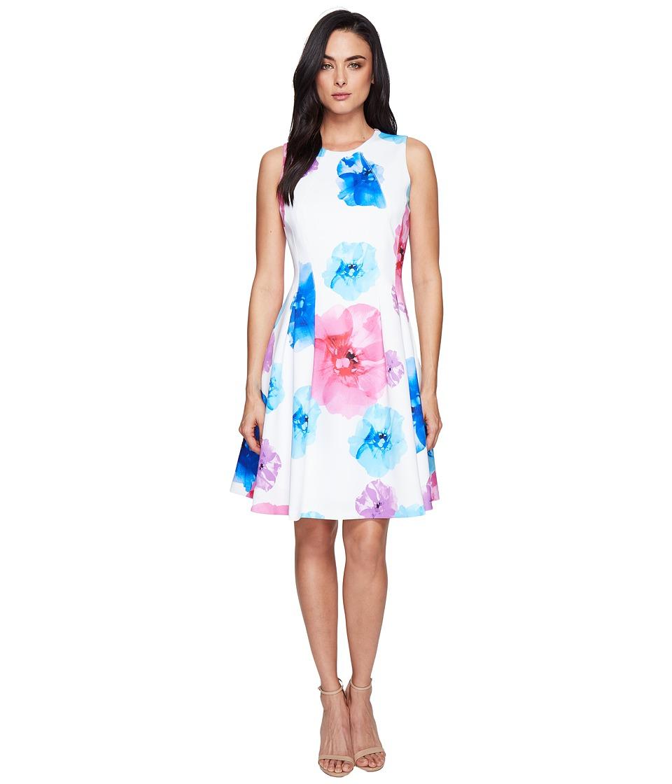 Calvin Klein Floral Fit Flare Dress CD7M5V3Q (Blue Multi) Women