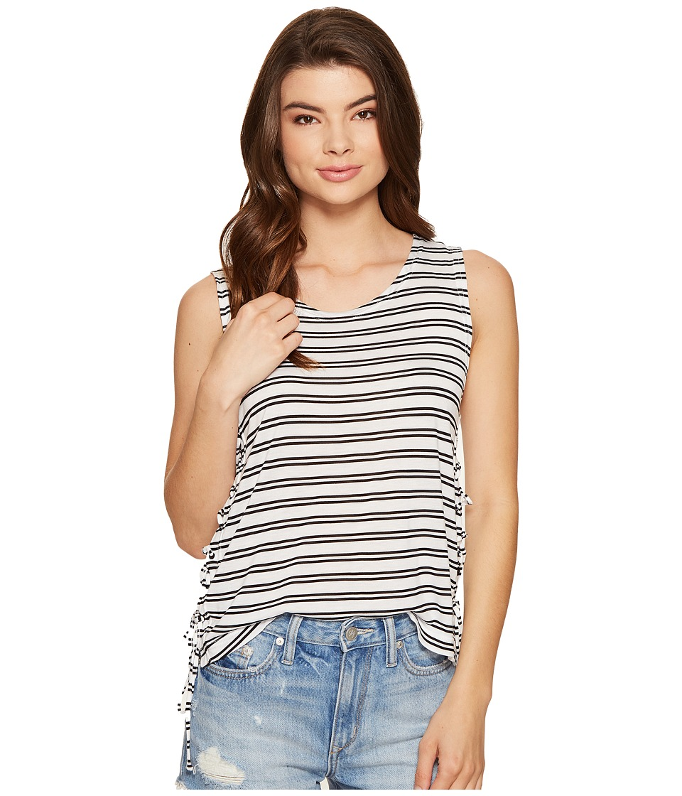 Jack by BB Dakota Loren Stripe Lace-Up Side Knit Tank Top (Bright White) Women