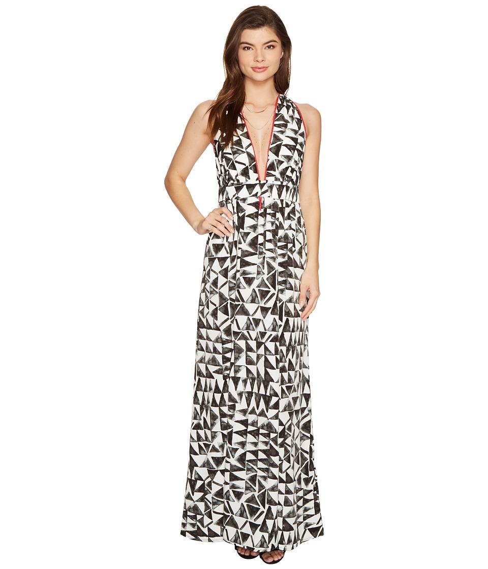 Jack by BB Dakota - Beah The Villas Printed Poly Habatai Maxi Dress (Bright White) Women's Dress