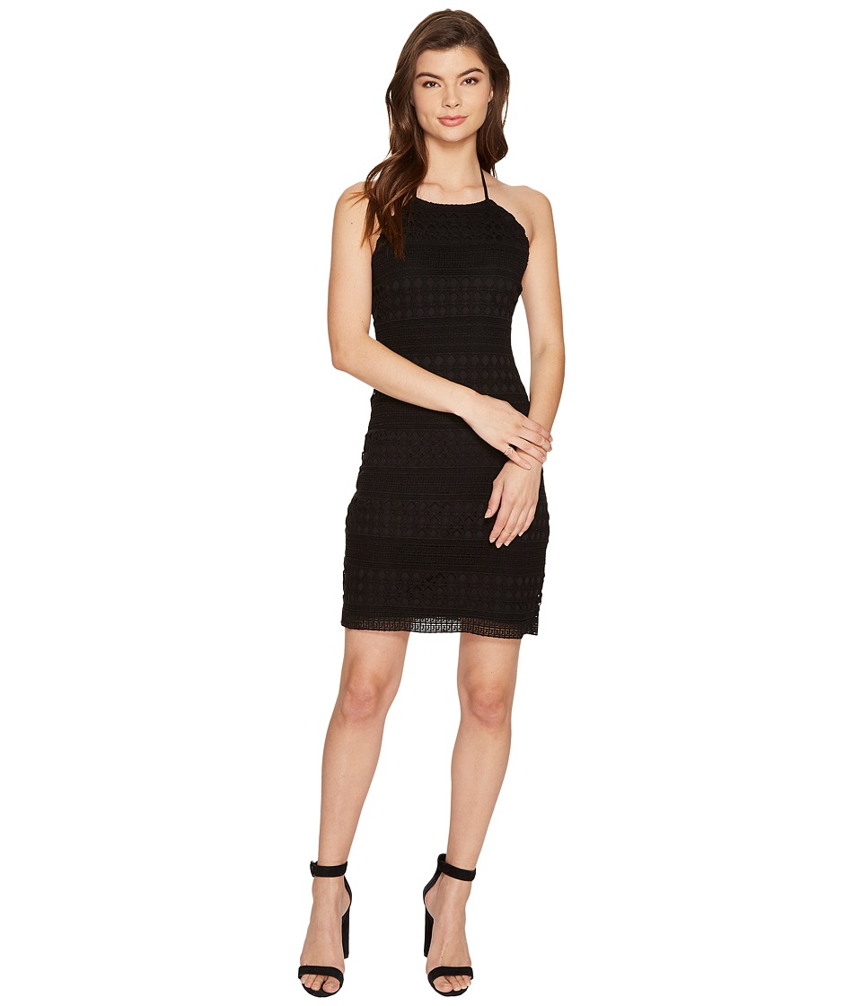 Jack by BB Dakota Mona Crochet Lace Halter Dress (Black) Women