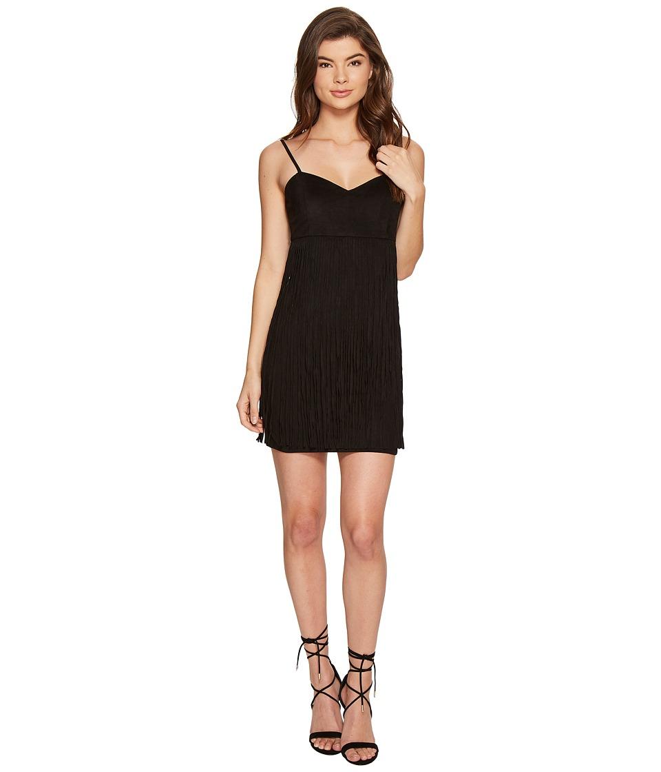 Jack by BB Dakota Rowlands Soft Faux Suede Fringed Dress (Black) Women