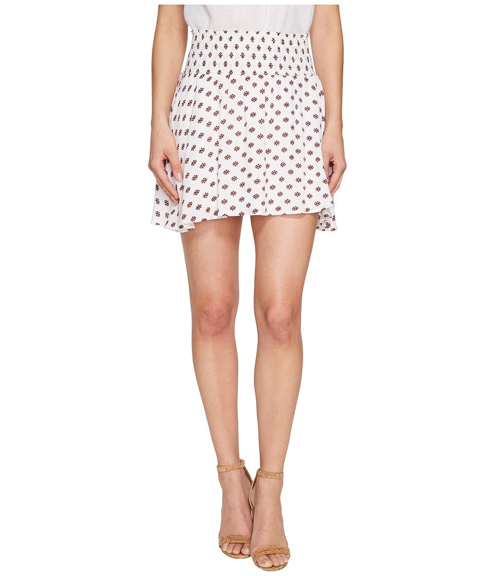 Jack by BB Dakota Falana Saharan Geo Printed Crinkle Poly Smocked Skirt (Bright White) Women