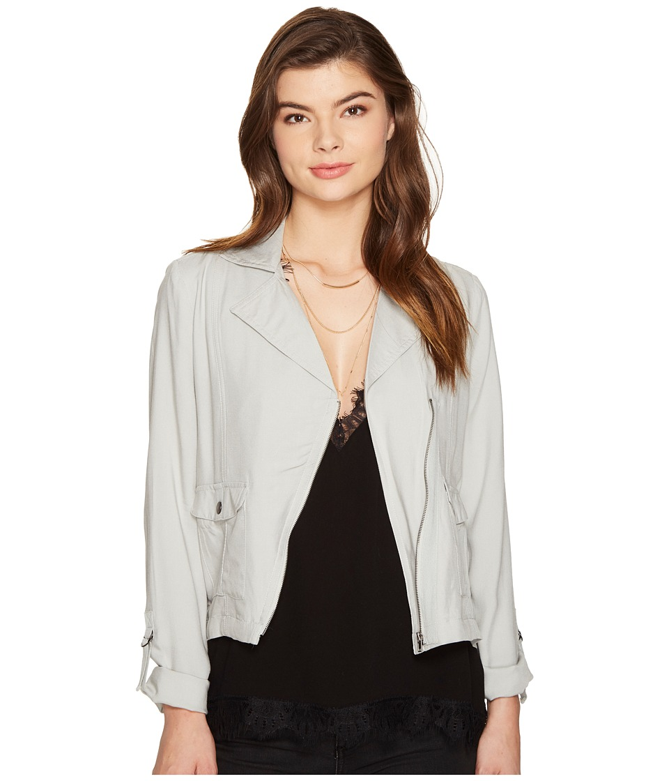 Jack by BB Dakota - Yohan Medium Rayon Twill Asymmetrical Zip Jacket (Light Grey) Women's Coat