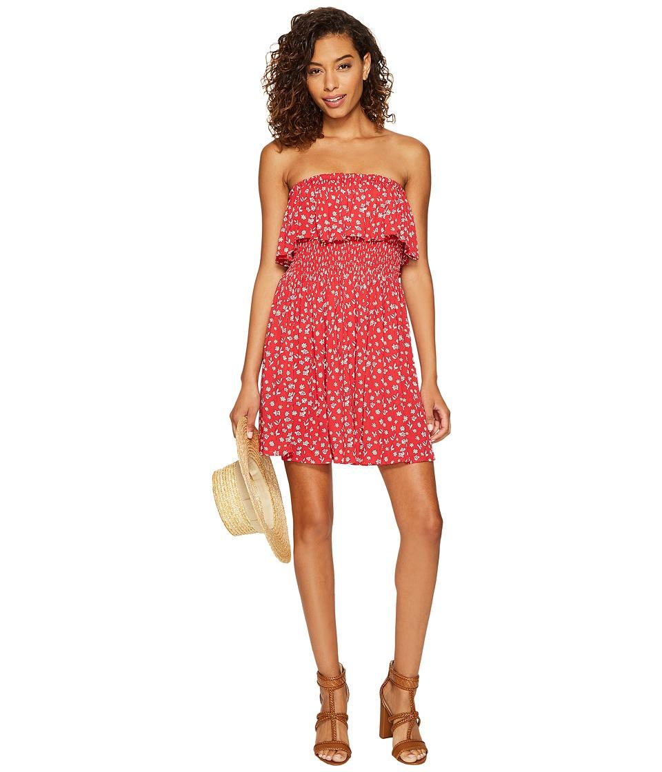 Jack by BB Dakota - Kindsley Serafina Floral Printed Rayon Crepe Smocked Dress (Fire Red) Women's Dress