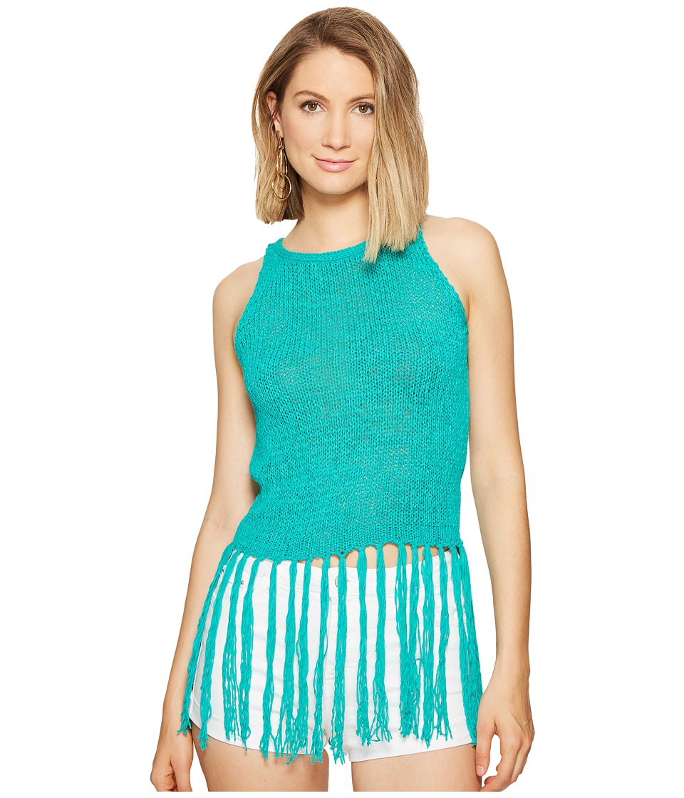 Jack by BB Dakota - Yoko Tape Yarn Long Fringed Sweater Tank Top (Teal Green) Women's Sleeveless