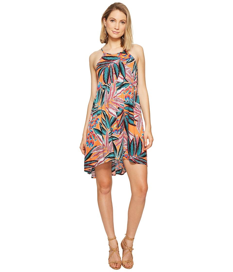 Jack by BB Dakota - Farrow Jungle Sunrise Printed Rayon Crepe Dress (Orange Bloom) Women's Dress