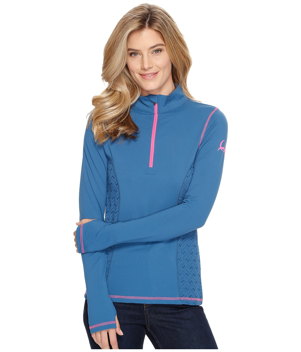 Cinch - 1/2 Zip Pullover w/ Side Pan (Teal) Women's Clothing