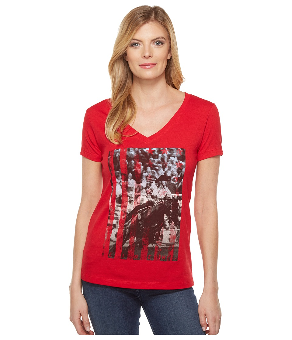 Cinch - Short Sleeve V-Neck Cotton Jersey (Red) Women's Clothing