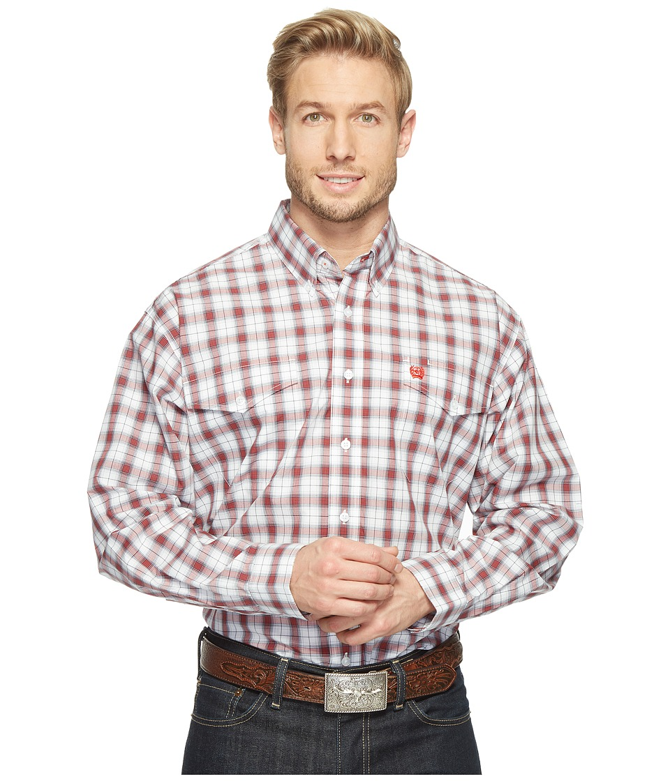 Cinch - Long Sleeve Plain Weave Plaid Double (White) Men's Clothing