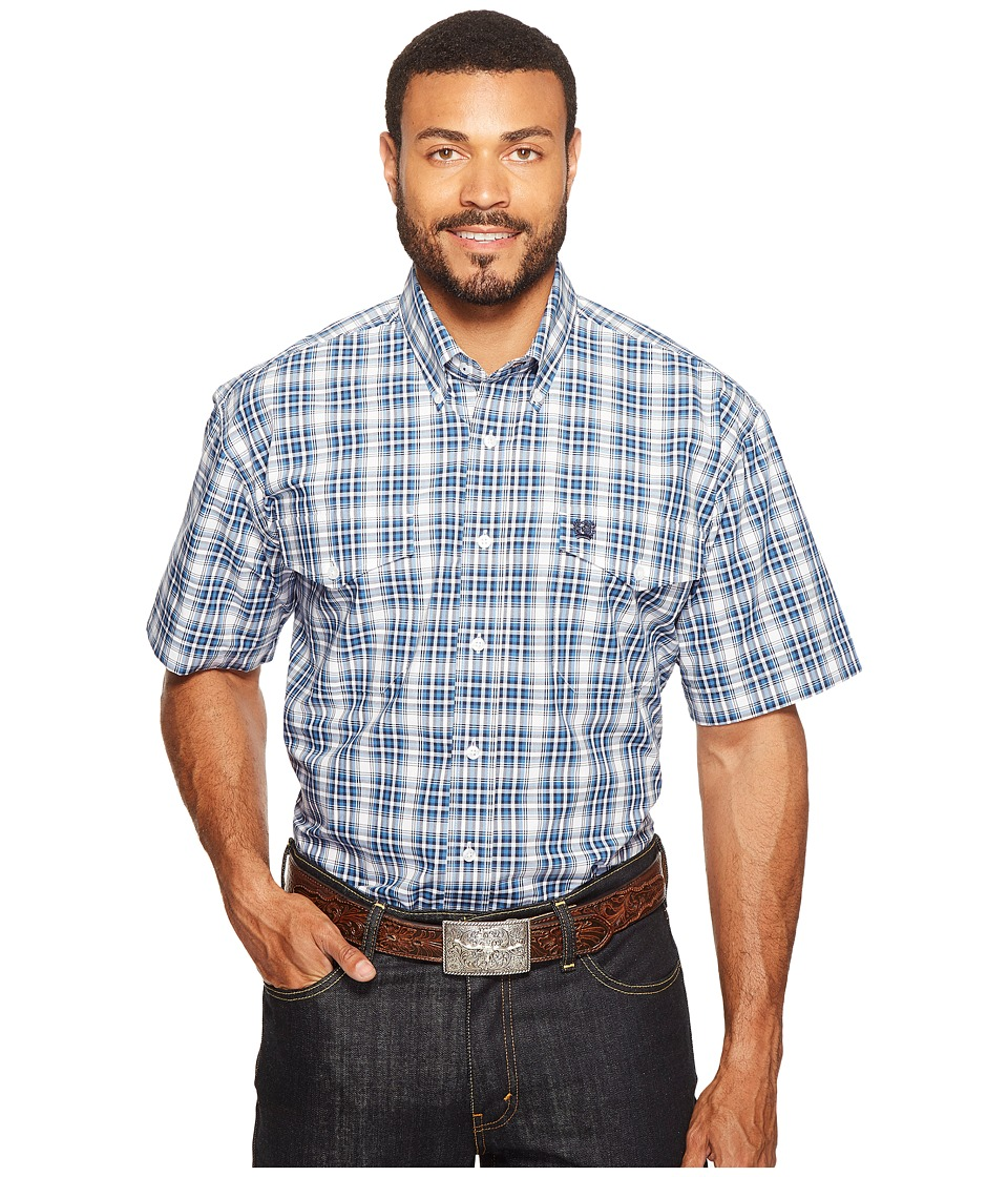 Cinch - Short Sleeve Plain Weave Plaid Double (White) Men's Clothing