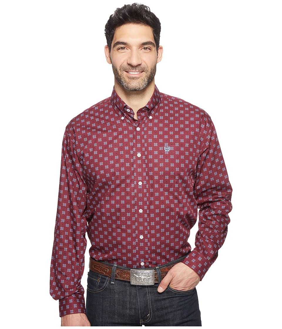 Cinch - Long Sleeve Plain Weave Print (Burgundy) Men's Clothing