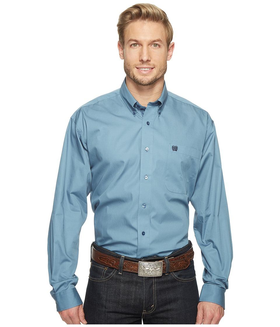 Cinch - Long Sleeve Plain Weave Solid (Blue) Men's Clothing