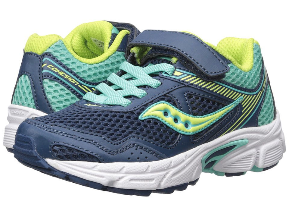 Saucony Kids Cohesion 10 A/C (Little Kid/Big Kid) (Navy/Turquoise) Girls Shoes