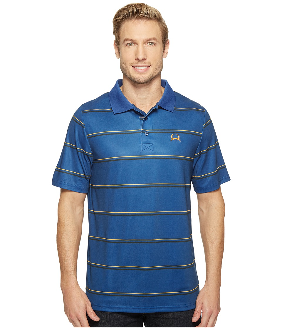 Cinch - Athletic Tech Polo Striped (Blue) Men's Clothing