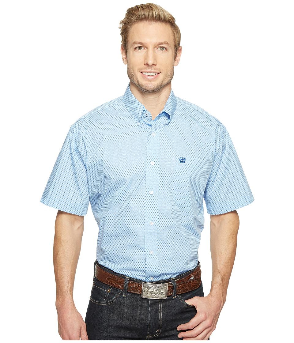 Cinch - Short Sleeve Plain Weave Print (Light Blue) Men's Clothing