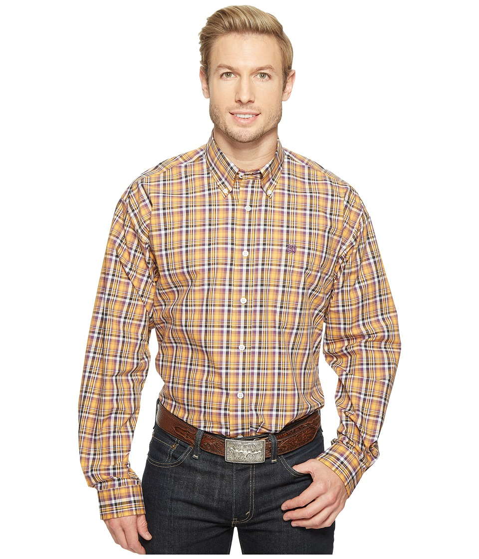 Cinch - Long Sleeve Plain Weave Plaid (Orange) Men's Clothing