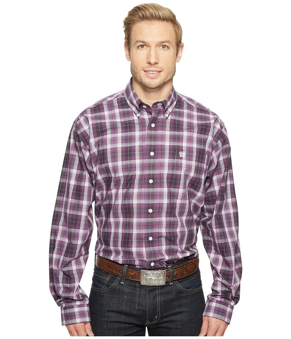 Cinch - Long Sleeve Plain Weave Plaid (Purple) Men's Clothing