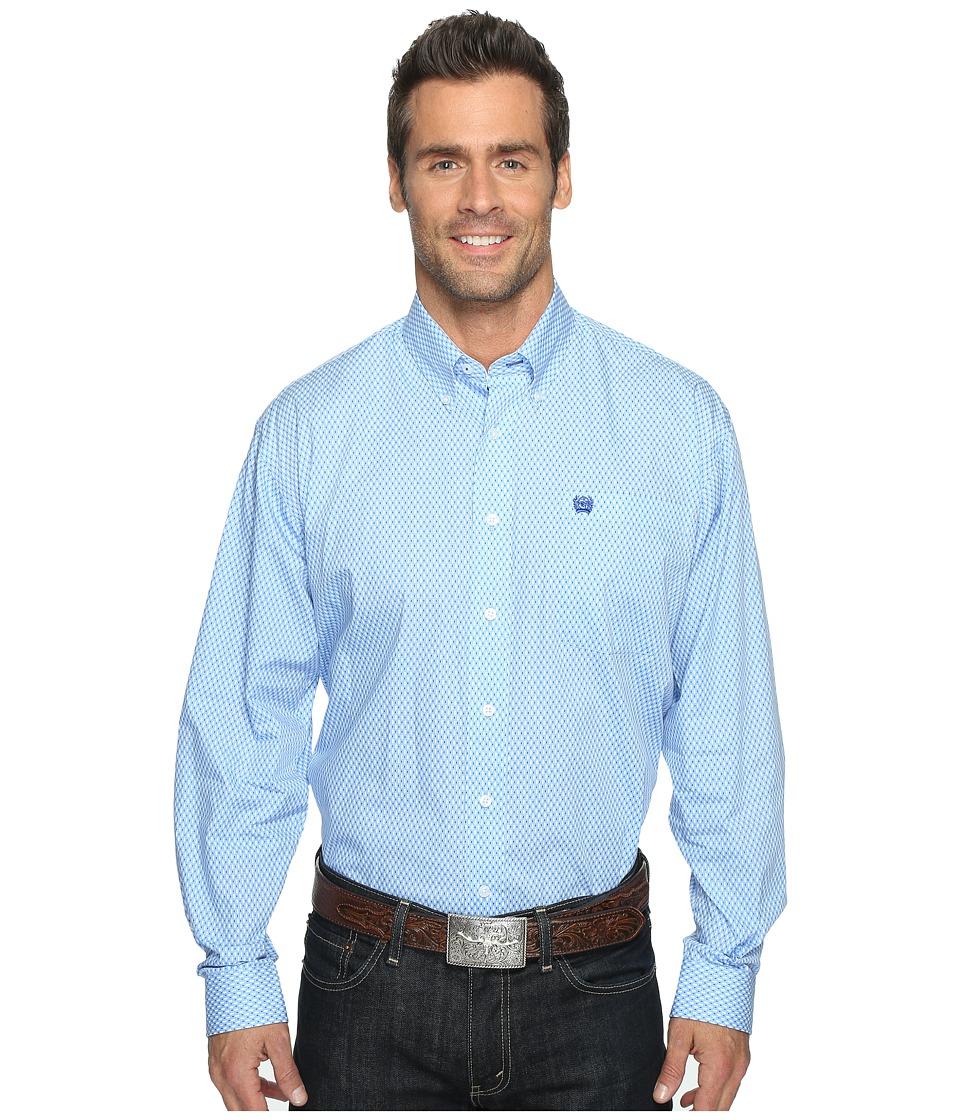 Cinch - Long Sleeve Plain Weave Print (Light Blue) Men's Clothing
