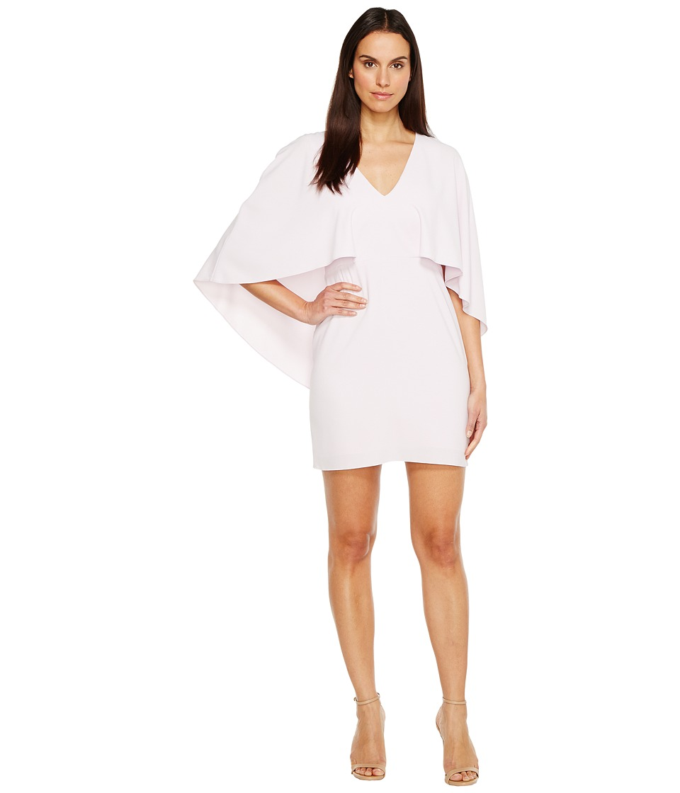 Halston Heritage Flowy Cape Sleeve V-Neck Crepe Dress