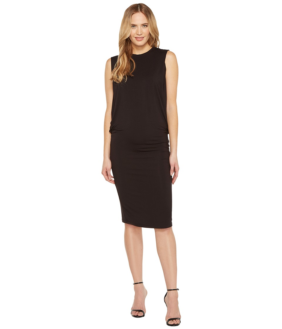 Halston Heritage - Sleeveless Fitted Drape Jersey Dress (Black) Women's Dress