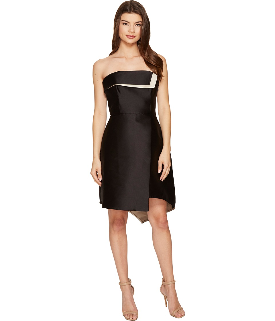 Halston Heritage Strapless Color Blocked Structure Black-Champagne Dress