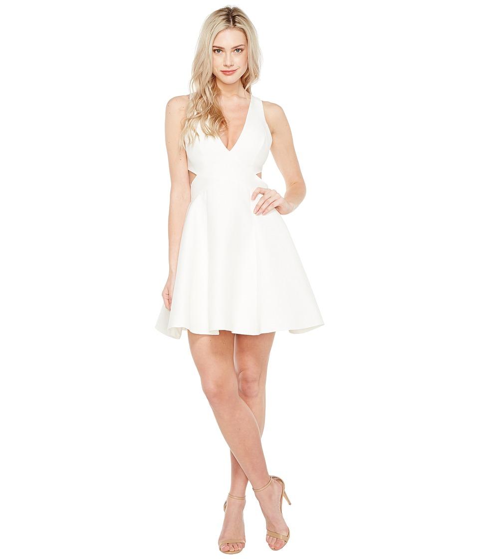 Halston Heritage Sleeveless Deep V-Neck Silk Faille Dress w/ Cut Outs (Chalk) Women